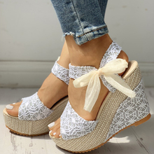 INS hot lace Leisure Women Wedges heeled women Shoes 2019 Summer Sandal