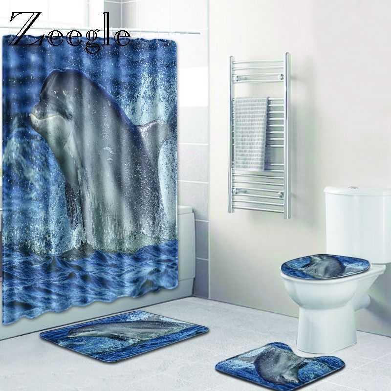 Zeegle 3D Printed Bath Mat Set with Shower Curtain Bathroom Carpet Pedestal Rug Toilet Lid Cover Mat Memory Foam Absorbent