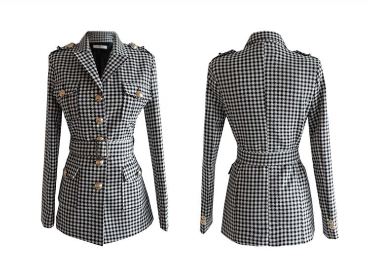Fashion Office Ladies Plaid Suit Slim Fit Autumn Winter New 2 pcs Blazer Suits Vintage Business Work Outfits Ensemble Femme 5