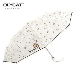 Image 3 - OLYCAT אוטומטי מטריית גשם נשים יפה חתול מתקפל מטריות Windproof שחור ציפוי אנטי UV שמשייה נשים של נערת מטרייה