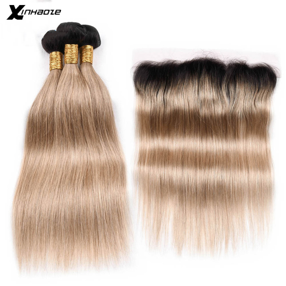 Ombre Bundles With Frontal Brazilian Straight Hair 3 Blonde Bundles With Frontal 13x4 Human Hair Bundles NonRemy Hair Weave