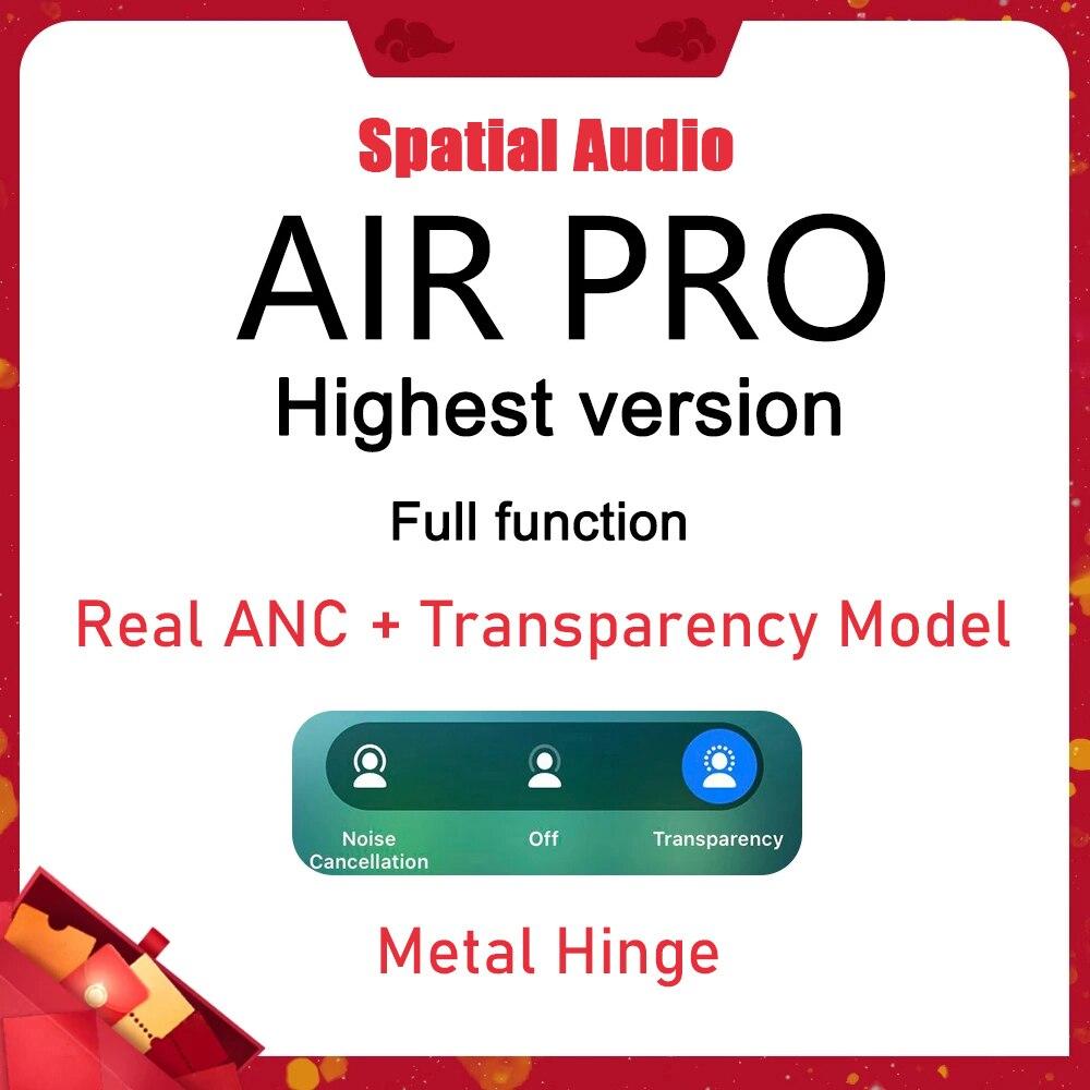 I90000 Pro Наушники-вкладыши TWS Bluetooth наушники ANC пространственный звук прозрачности Air 3 металлическое шарнирное крепление Беспроводной наушник...