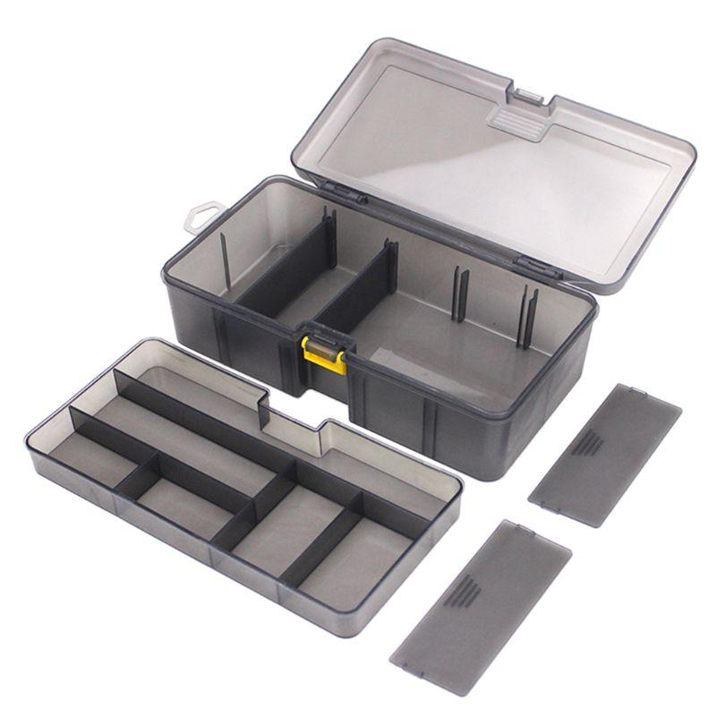 Multi-division Dual Layer Tool Storage Box Multifunctional Organize Fishing Lure Hooks Arrange Case Durable Plastic