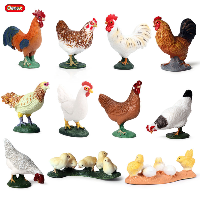 Farm Animal Family Chicken Rooster Model Figure Kids Toddler Educational Toy