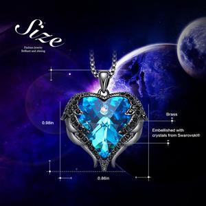 Image 4 - CDE המקורי עיצוב מלאך כנפי קשט עם קריסטלים סברובסקי לב צורת תליון שרשרת תכשיטי האהבה מתנה
