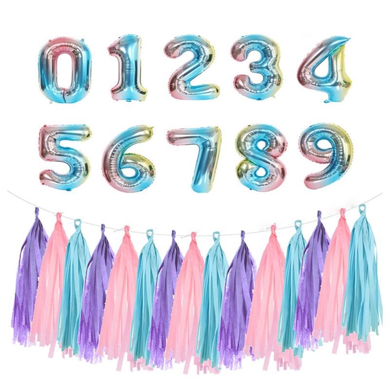 誕生日のテーマ 32 インチ虹色番号バルーンタッセルセットパーティーの装飾 adlut 子供周年パーティーバルーン装飾