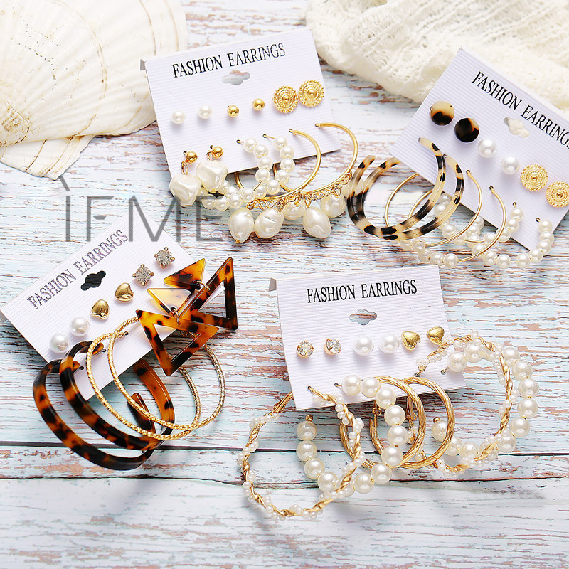 IF ME Fashion Vintage Gold Pearl Round Circle Drop Earrings Set For Women Girl Large Acrylic Tortoise shell Dangle Ear Jewelry