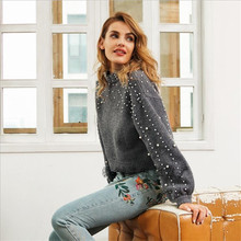 2019 Autumn and Winter New Round Neck Loose Sweater Womens Short Pearl Decorative Warm Wool Young Female Ladys Clothes