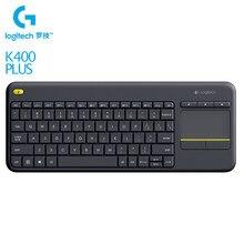 Logitech K400 artı kablosuz dokunmatik klavye ile Touchpad 2.4Ghz birleştirici alıcı için kablosuz tuş takımı PC dizüstü Android akıllı TV