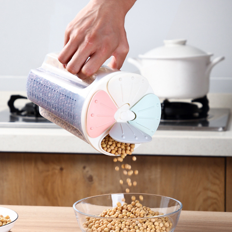 Dispenser Storage Box Container Plastic Food Grain Rice Cereal Flour Kitchen Tank Petal Sealed Can Modern