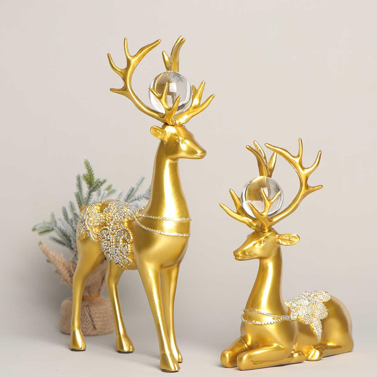 2 Buah Rusa Dekorasi Pasangan Kreatif Bergaya Khusus Rusa Dekorasi Rusa Ornamen untuk Kabinet Ruang Tamu Rumah