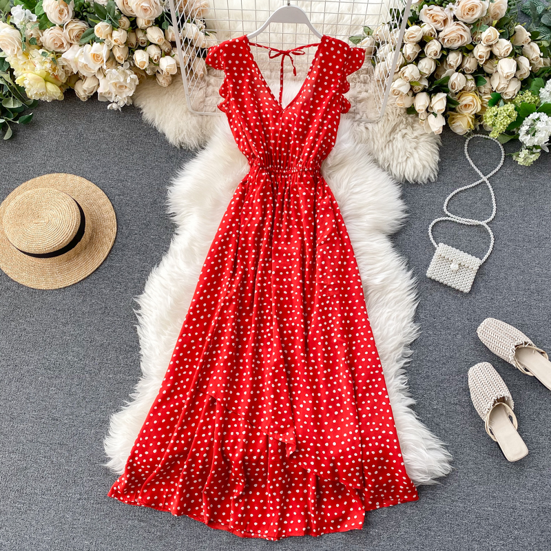 Women's 2020 Spring Summer Dress Beach Dress Goddess Ruffles Backless Dress Sexy V-neck Waist Dot Irregular Vacation Dress ML790