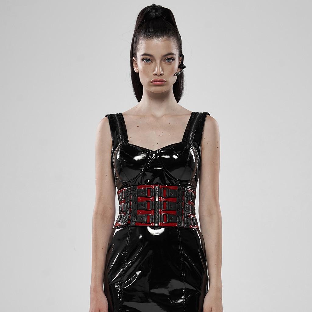 PUNK RAVE Women Punk Rock Metal Waist Girdle Patent Leather Personality Women Party Gothic Corset