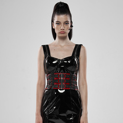 PUNK RAVE Women Punk Rock Metal Waist Girdle Patent Leather Personality Women Party Gothic Corset