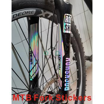 2 fotki zestaw ROCKSHOX reba widelce widelec rowerowy naklejki MTB widelec rower naklejki naklejki rowerowe wyścigi na rowerze naklejki tanie i dobre opinie JIKETIE Green PVC MTB Front Fork