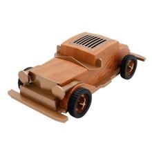 Altavoz de madera recargable Estilo Vintage Bluetooth decoración del hogar Mini disco U portátil Radio FM con micrófono forma de coche