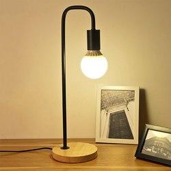 Drewniana podstawa lampa stołowa lampa na biurko studium oświetlenie ochrona oczu wtyczka amerykańska E27 40W