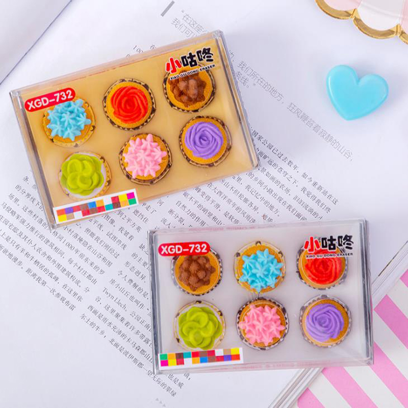 6 Pcs/pack Cute Mini Flower Style Cake Dessert Eraser Rubber Pencil Erasers Students Gift Prize For Office School Stationery