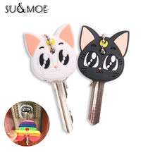 Cute Cartoon Keychain Silicone Cat Dog Protective Key Case Cover for Key Control Dust Cap Holder Gift Women Key Chain