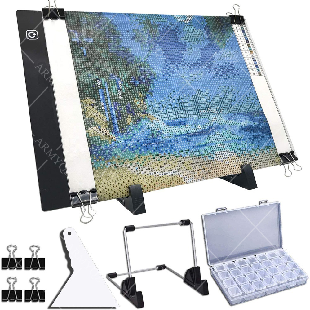 A4 LED Light Pad for Diamond Painting, USB Powered Light Board Kit, Adjustable Brightness with Detachable Stand and Clips(China)