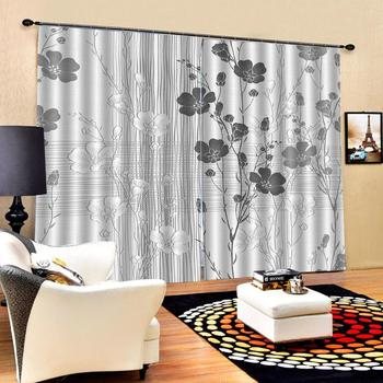 grey flower curtains Beautiful Photo Fashion Customized 3D Curtains Luxury Blackout 3D Window Curtains For Living Room Bedroom