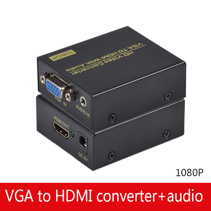 VGA Audio To HDMI Video Converter Audio Sync Output VGA Input HDMI Output Computer Monitor HD 1080P