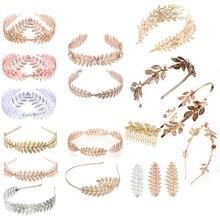 Joyería para el cabello nupcial hojas de oro coreano bandas para el cabello corona Vintage corona de perlas Tiara mujeres accesorios para el cabello de boda
