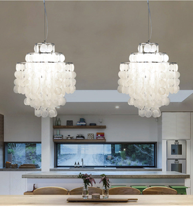 Image 2 - DIY מודרני לבן טבעי צדף תליון מנורת מתקן E27 אורות Dia 26/30/45cm פגז מנורות עבור חיים בבית חדר שינה חדר