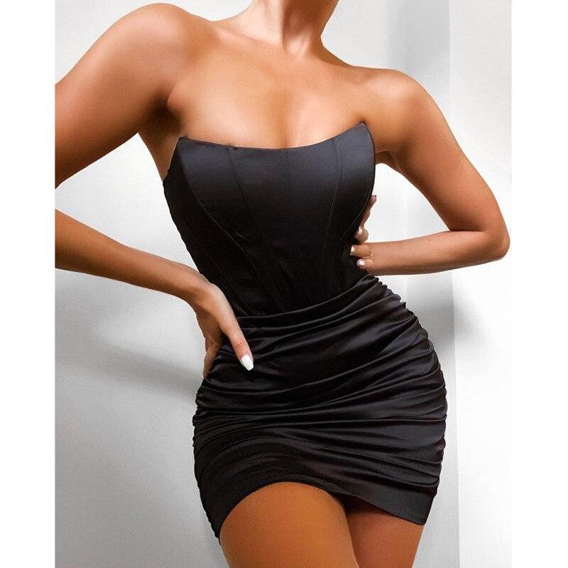 SRUBY Satin Sexy Dress Women Off Shoulder Anti Slip Bodycon Backless Strappy Dress Mini Sundress  Zipper Summer Dress Vestidos 9