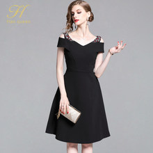 H Han Queen Elegant Slim A-line Black Dress Women 2019 Autumn Vintage Off Shoulder Work Party Dresses OL Casual Vestidos(China)