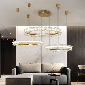 Image 4 - Modern crystal chandelier lighting for living room gold ring combination led chandeliers home decoration lustre cristal lamps