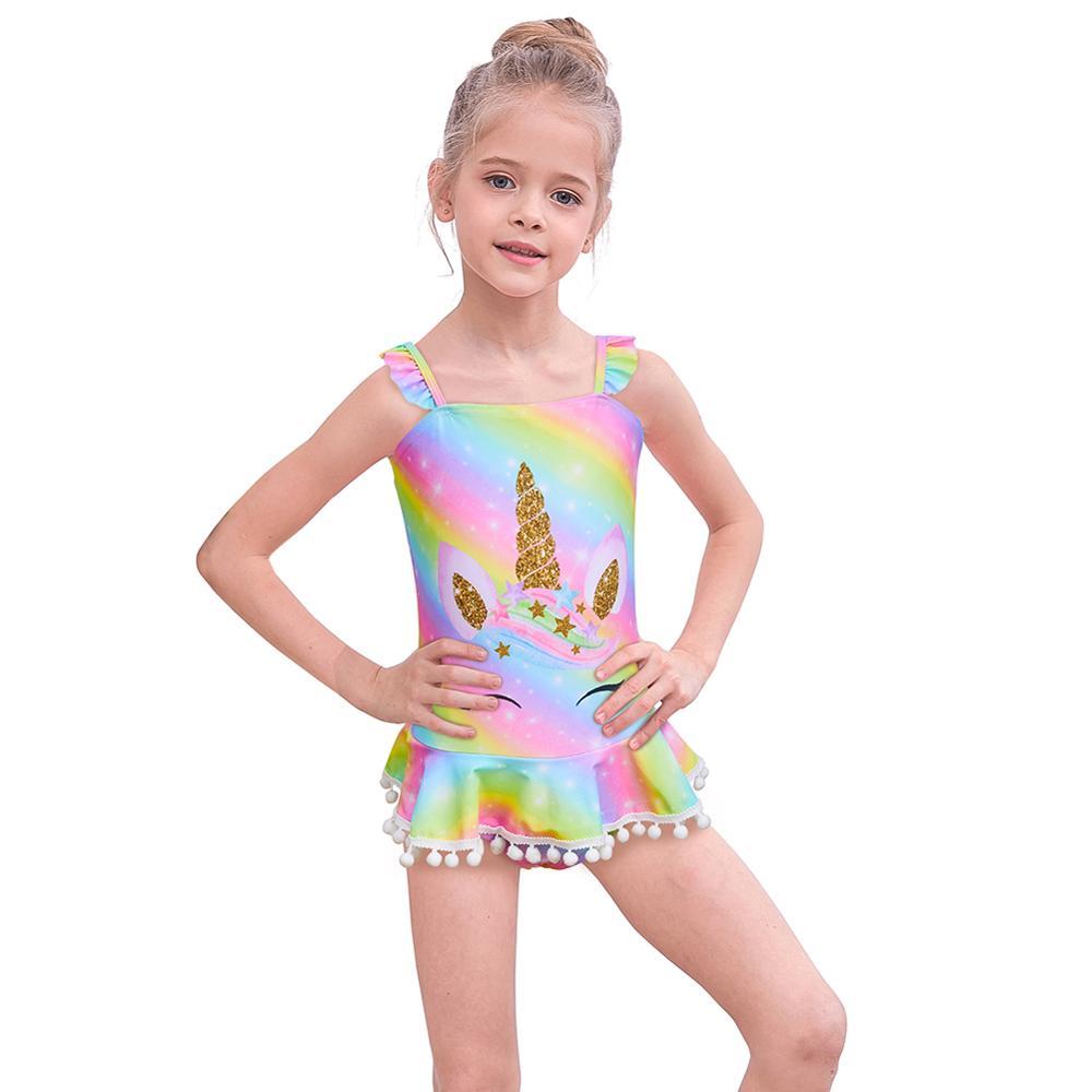 Nuevo Arco Iris unicornio traje de baño para niñas una pieza sirena impreso traje de baño para niñas bebé lindo traje de baño para chica