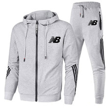 2021 Spring And Autumn Fashion Stripes Men's Two-Piece Striped Sportswear Men's Hooded Top Outdoor Sports Pants Track Suit Suit