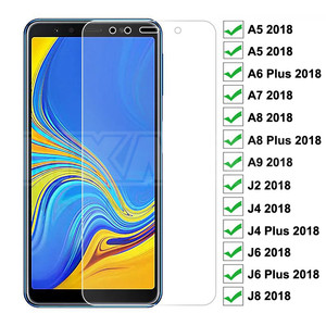 9H Tempered Glass on For Samsung Galaxy A5 A7 A9 J2 J8 2018 A6 A8 J4 J6 Plus 2018 Screen Protector Glass Film Case