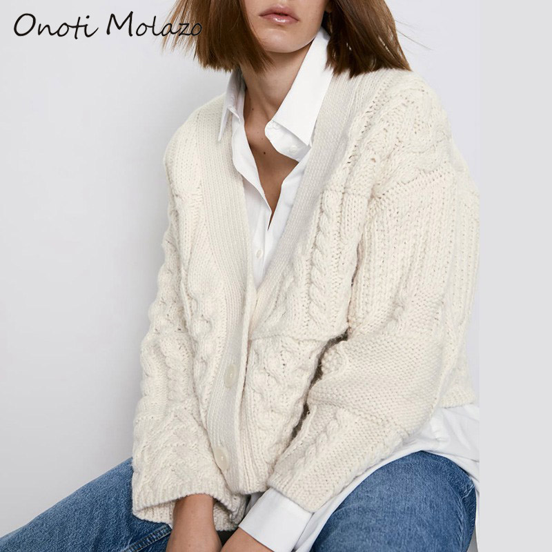 Onoti Molazo Knitted Sweaters Cardigans Women Casual Buttons Solid Elegant Ladies Chic Sweater Cardigans Female 2019 Winter New
