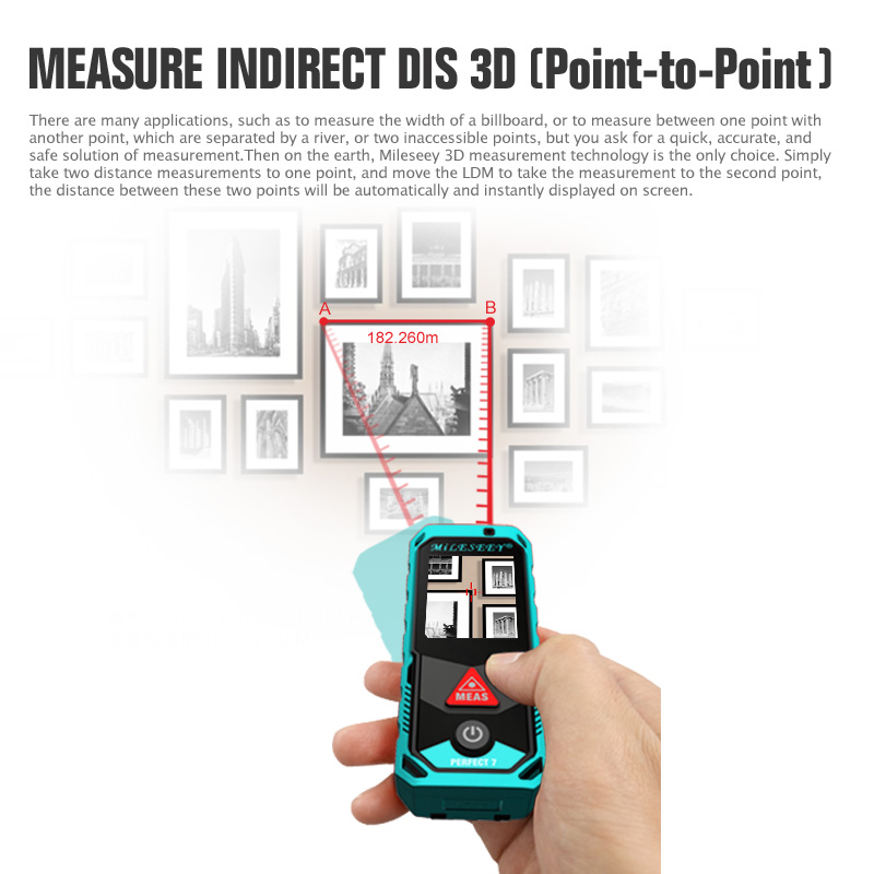 """Image 4 - Mileseey P7 80M Bluetooth Laser Rangefinder with Rotary Touch Screen Rechargerable Laser Meter  2.0"""" LCD Handheld-in Laser Rangefinders from Tools"""