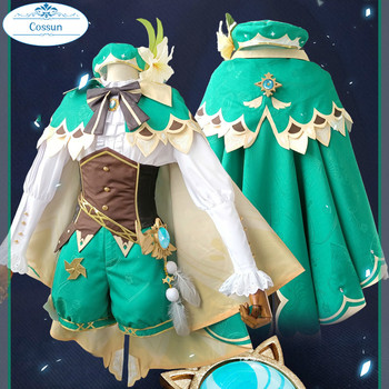 Anime Genshin Impact Venti Game Suit Green Lovely Uniform With Cloak Hat Cosplay Costume Halloween Outfit For Women Girls 2020 N 1