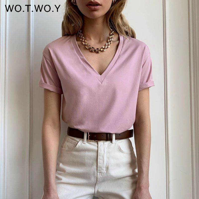 WOTWOY Summer Knitted V-Neck T-Shirt Women Cotton Basic Solid Tee Shirt Female Short Sleeve Kintwear Tops Harajuku Tshirt Ladies