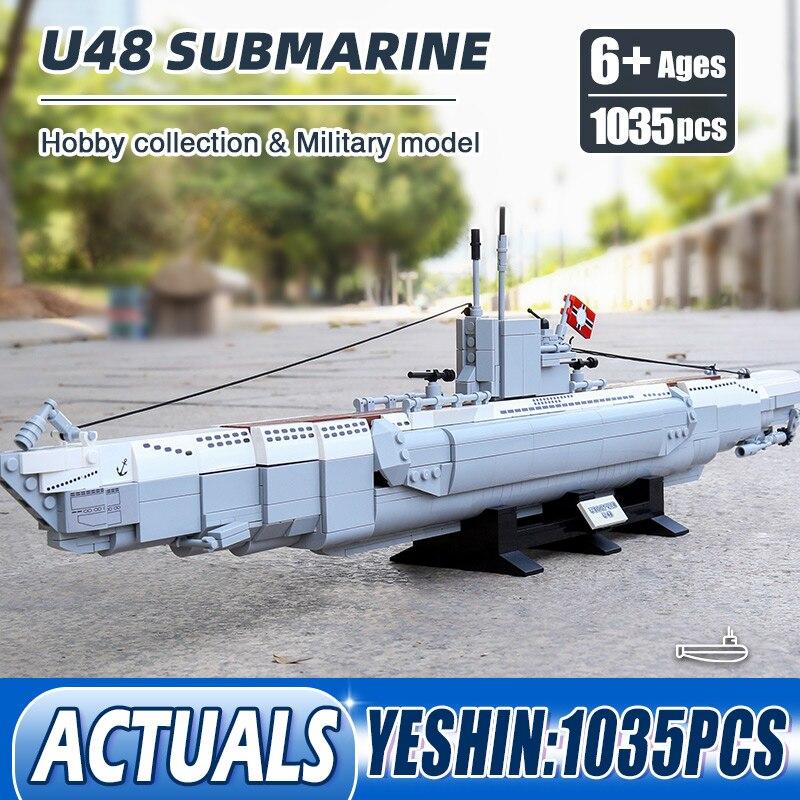 1035PCS Yeshin PG15001 Military Ship Toys MOC U48 Submarine Model Cruise Line Ships Building Blocks Bricks Kids Christmas Gifts