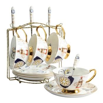 Classical Coffee Cup European Royal White Ceramic Italian Vintage Espresso Cups Mug Saucer Taza Cafe Pottery High Tea EE50BD