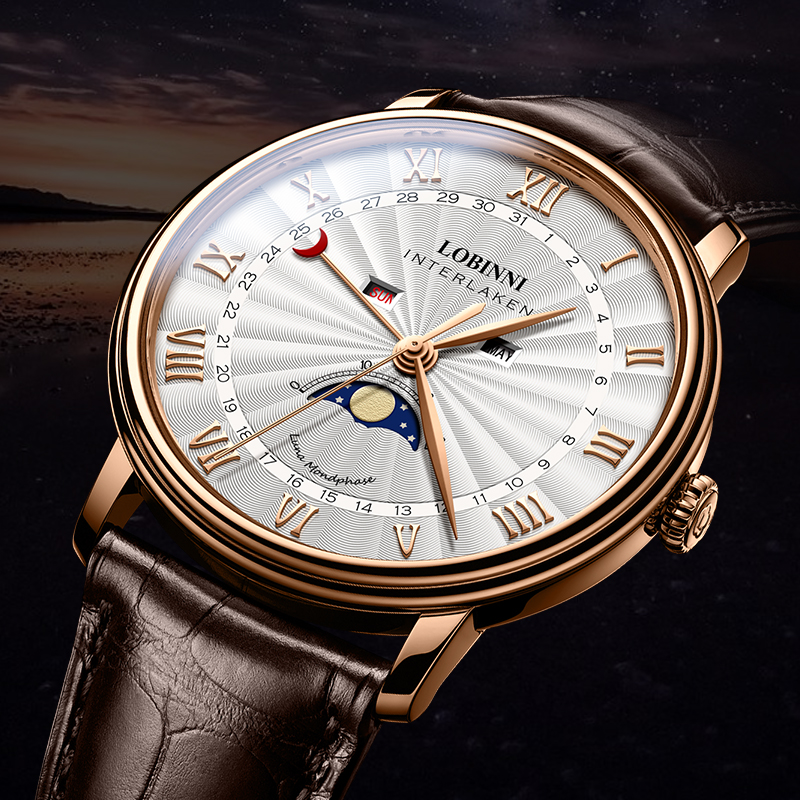 LOBINNI Men Watches Quartz Luxury Brand Watch Men Sapphire Waterproof Moon Phase Calendar Steel Rose Gold Man Hours Reloj Hombre