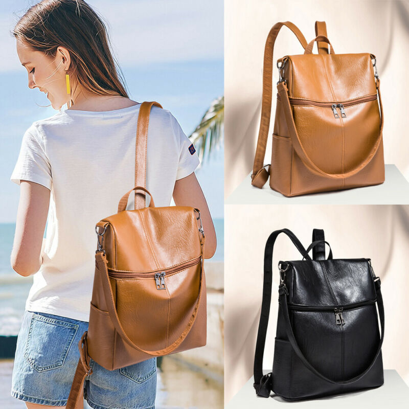 Women's PU Leather Backpack Anti-Theft Rucksack Backpack School Bags For Teenage Girls Shoulder Bags Back Pack Bookbag Women