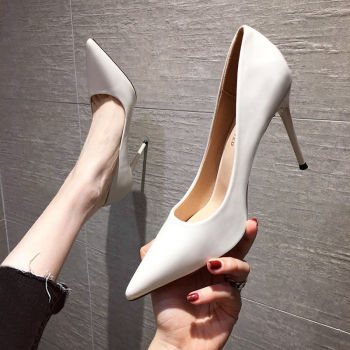 Women's Shoes 2020 Spring and Autumn New All-match Women's White High Heels Stiletto High Heels Sexy Nude Single Shoes Women high heels 2019 new spring and autumn korean version of the pointed fine stiletto wild shallow mouth single shoes women