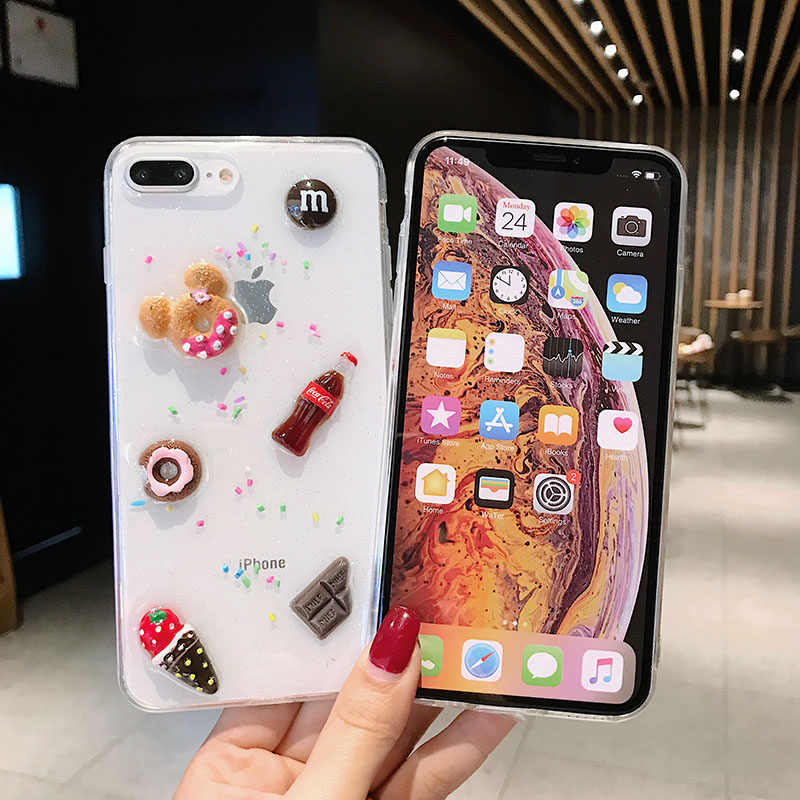 Для iPhone X XS XR XSMAX 3D милый торт Макарон мороженое силиконовый чехол для iPhone 6 6S 7 8 Plus блестящий чехол