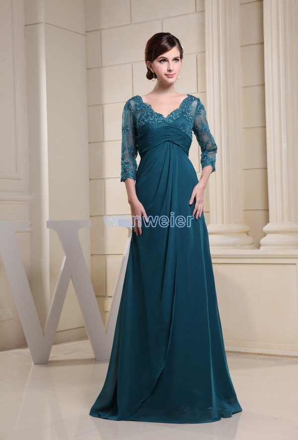 Free Shipping 2016 Custom Size/color Arabic Luxury Dresses Cap Half Sleeve Appliques V-neck Chiffon Mother Of The Bride Dresses