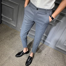Весенние новые модные брюки мужские деловые повседневные Прямые брюки от костюма мужские брюки Slim Fit повседневные брюки серый черный