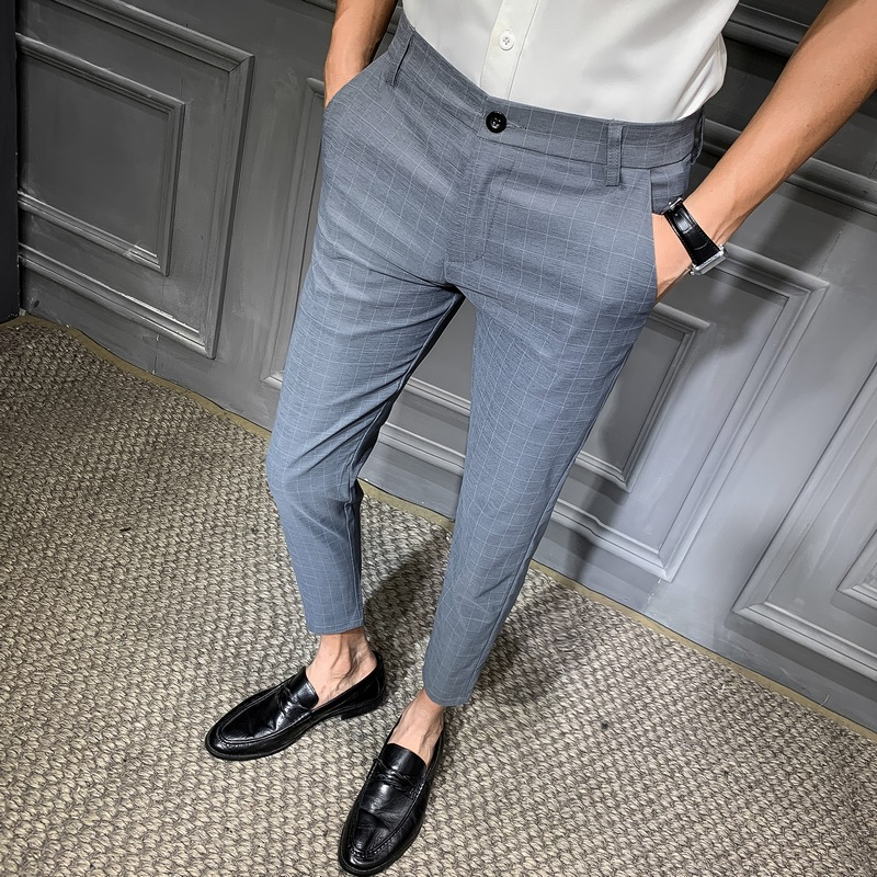2019 Spring New Fashion Pants Men's Business Casual Straight Suit Pants Dress Men's Trousers Slim Fit Casual Pants Gray Black