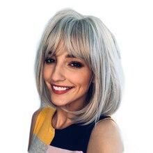 TINY LANA Silky Straight hairstyles Short Gray Bob Side Part Bangs Synthetic