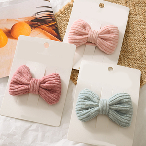 1PC Candy Color Bow Hairpin Soft Cotton Cute Baby Girls Knotted BB Clip Hair Clip Korean Sweet Barrettes Pink Hair Accessories