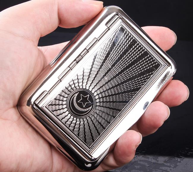 Thin American Eagle Metal Cigarette Case Boxes Automatic Cigarette Tobacco Case